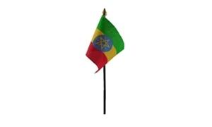 Billede af Etiopien med Stjerne Bordflag (10x15cm)