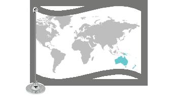 Oceanien Bordflag 15x22cm (Satin)