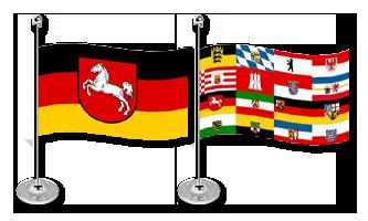 Tyskland Bordflag 15x22cm (Satin)