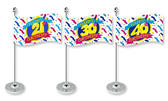 Fødselsdag Bordflag 15x22cm (Satin)