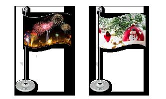 Jul og Nytår Bordflag 15x22cm (Satin)