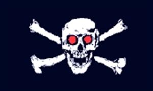 Billede af Jolly Roger Red Eyes - Pirat Flag (90x150cm)