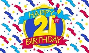 Image of   Happy 21st Birthday Flag (90x150cm)
