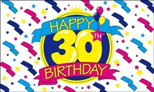 Image of   Happy 30th Birthday Flag (90x150cm)