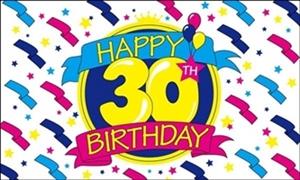 Image of   Happy 30th Birthday Flag (90x150cm)