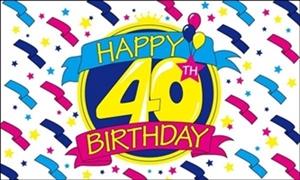 Image of   Happy 40th Birthday Flag (90x150cm)