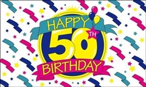 Image of   Happy 50th Birthday Flag (90x150cm)