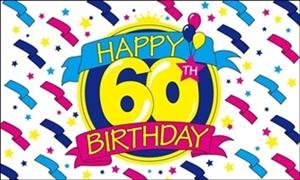 Image of   Happy 60th Birthday Flag (90x150cm)