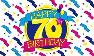 Image of   Happy 70th Birthday Flag (90x150cm)
