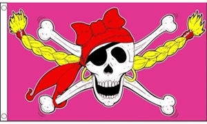 Image of   Pirate Girl Skull Flag (90x150cm)