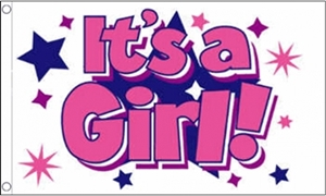 Image of   Its a Girl Stars Flag (90x150cm)