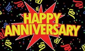 Image of   Happy Anniversary Black Flag (90x150cm)
