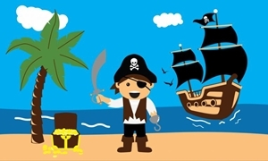 Image of   Pirate Treasure Beach Flag (90x150cm)