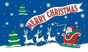 Image of   Merry Christmas Blue Flag (90x150cm)