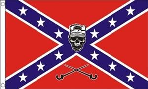 Image of   Confederate Soldier Skull Flag (90x150cm)