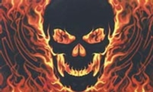 Image of   Skull with Fire Flag (90x150cm)