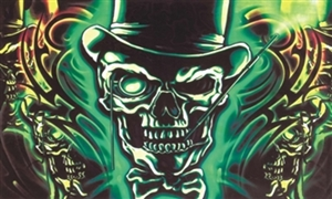 Image of   Skull with Top Hat Flag (90x150cm)