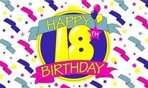 Image of   Happy 18th Birthday Flag (90x150cm)