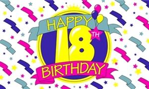 Image of   Happy 18th Birthday Flag (90x150cm)