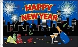 Image of   Happy New Year City Flag (90x150cm)