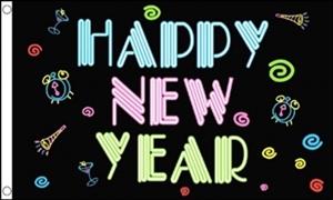 Image of   Happy New Year NEON Flag (90x150cm)