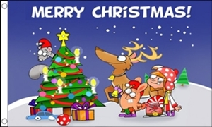 Image of   Christmas Scene Flag (90x150cm)
