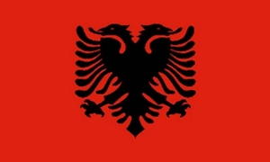Image of   Albanien Satin Flag (15x22cm)