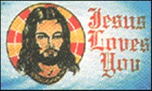 Image of   Jesus Loves You Flag (90x150cm)