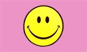 Image of   Smiley Face Pink Flag (90x150cm)