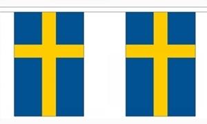 Billede af Sverige Papir Guirlander 2,8m - 10 flag (A5)