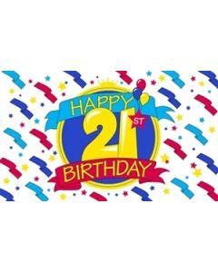 Happy 21st Birthday Flag (90x150cm)