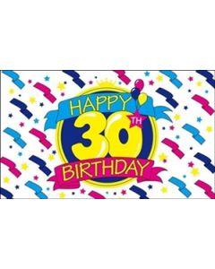 Happy 30th Birthday Flag (90x150cm)