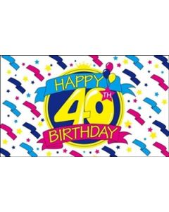 Happy 40th Birthday Flag (90x150cm)