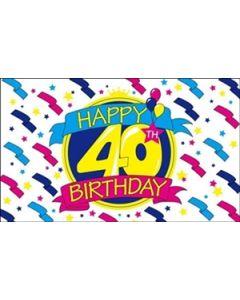 Happy 40th Birthday Flag (90x150cm)