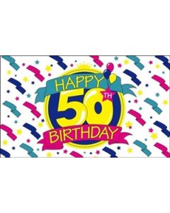 Happy 50th Birthday Flag (90x150cm)