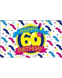 Happy 60th Birthday Flag (90x150cm)