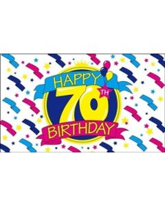 Happy 70th Birthday Flag (90x150cm)