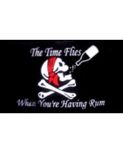 Time Flies When You Have Rum - Pirat Flag (90x150cm)