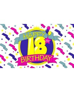 Happy 18th Birthday Flag (90x150cm)