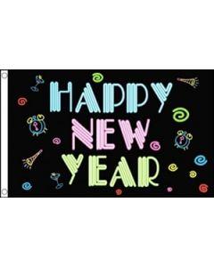 Happy New Year NEON Flag (90x150cm)