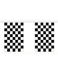 Black and White Check Guirlander 3m (10 flag)