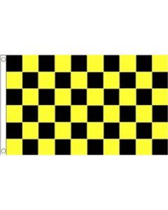 Black and Yellow Check Flag (90x150cm)