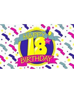 Happy 18th Birthday Satin Flag (15x22cm)