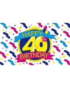 Happy 40th Birthday Satin Flag (15x22cm)