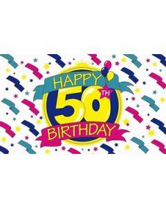 Happy 50th Birthday Satin Flag (15x22cm)