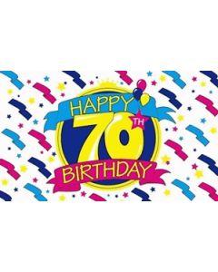 Happy 70th Birthday Satin Flag (15x22cm)