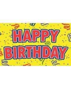 Happy Birthday Yellow Flag (90x150cm)
