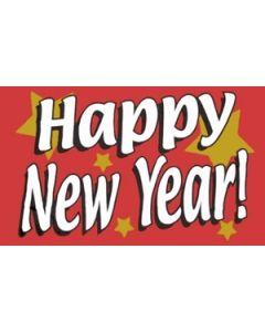 Happy New Year Satin Flag (15x22cm)