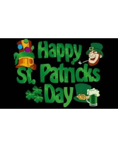 Happy St Patricks Day (black) Flag (90x150cm)