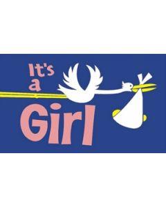 Its a Girl Satin Flag (15x22cm)
